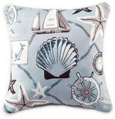 Croscill Yachtsman Printed Square Throw Pillow in Light Blue