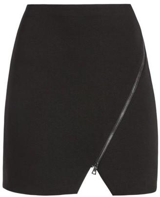 Alice + Olivia Barbara Asymmetric Zip Mini Skirt