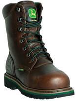 """John Deere Men's Boots 8"""" Steel Toe Lace Up Internal Met Guard Boot - Brown Boots"""