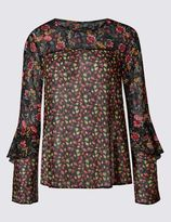 Marks and Spencer Floral Print Ruffle Long Sleeve Blouse