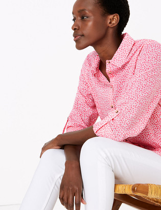 Marks and Spencer Pure Cotton Floral Relaxed Shirt