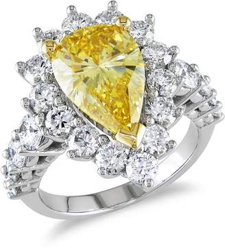 Ice Julie Leah 5 1/2CT TW Yellow & White Diamond Engagement Ring 19k White Gold