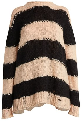 Acne Studios Striped Knit Distressed Sweater