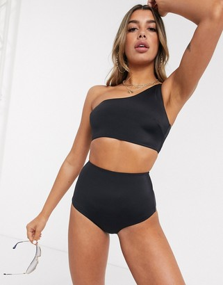 ASOS DESIGN recycled mix and match high waist bikini bottom in black