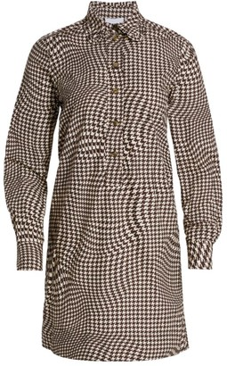 Ganni Houndstooth Poplin Shirtdress