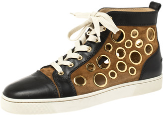 Christian Louboutin Black/Brown Suede and Leather Bubble High-Top Sneakers Size 42.5