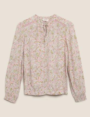 Marks and Spencer Floral V-Neck Tie Front Blouse