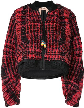 No.21 Lace Panel Tweed Bomber