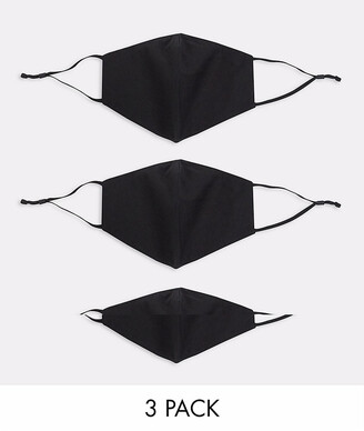 ASOS DESIGN 3 pack face coverings with adjustable straps and nose clip in black