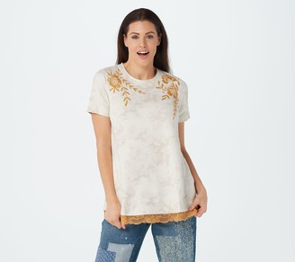 LOGO by Lori Goldstein Tie-Dye French Terry Top with Embroidery