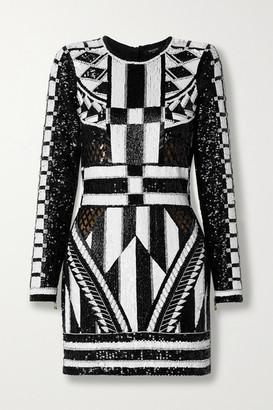 Balmain Open-back Metallic Jacquard-knit Mini Dress - Black