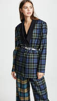 Tibi Tartan Oversized Tuxedo Blazer with Belt