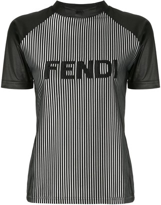 Fendi Pre Owned striped logo T-shirt