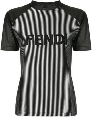 Fendi Pre-Owned striped logo T-shirt