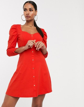 Asos DESIGN long sleeve puff sleeve popper front tea dress in red