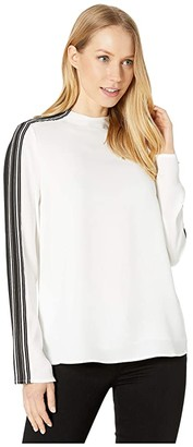 BCBGMAXAZRIA Long Sleeve Woven Top (Optic White) Women's Clothing