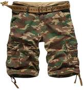 OCHENTA Men's Cotton Camo Loose Fit Cargo Shorts