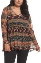 Sejour Plus Size Women's Floral Print Mesh Peplum Tunic
