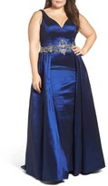 Mac Duggal Plus Size Women's Embellished Waist Taffeta Ballgown