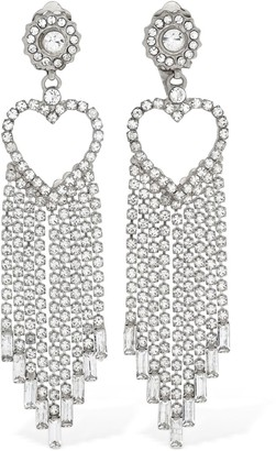 Etro Fringed Heart Crystal Clip-On Earrings