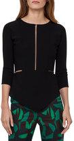 Akris Tulle-Inset 3/4-Sleeve Sweater, Black