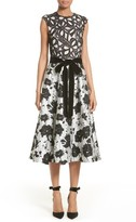 Monique Lhuillier Women's Lace & Jacquard Tea Length Dress