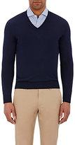 Barneys New York Men's V-Neck Sweater-NAVY
