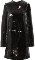 MSGM Sequined Crepe Mini Dress - Black