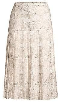 Brochu Walker Women's Rovena Mixed Animal Print Pleated Midi Skirt