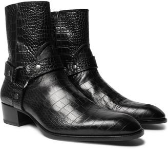 Saint Laurent Wyatt Croc-Effect Leather Boots
