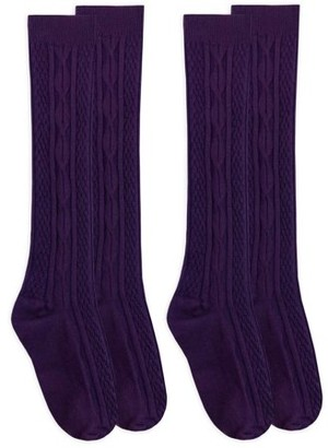 Jefferies Socks Girls Socks, 2 Pack Fashion Cable Knit Knee High Sizes Toddler and XS - M