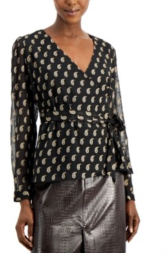 INC International Concepts Inc Printed Tie-Front Surplice Top, Created for Macy's