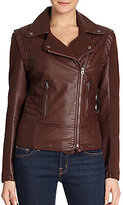Members Only Twill-Detail Asymmetrical Zip-Front Faux Leather Jacket
