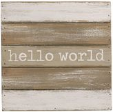 "Mud Pie Hello World"" Wood Plank Wall Art"
