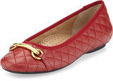 Neiman Marcus Suzy Quilted Napa Ballet Flat, Red