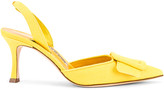 Manolo Blahnik Maysli 70 Slingback in Yellow Denim | FWRD