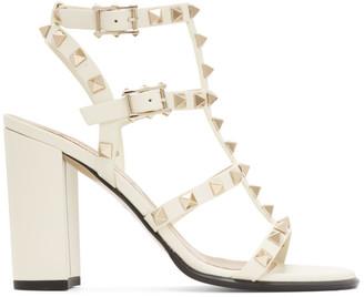 Valentino White Garavani Rockstud Caged Sandals