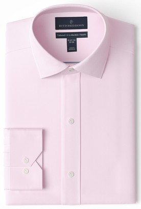 Buttoned Down Tailored Fit Spread Collar Solid Non-Iron Dress Shirt Light Pink/No Pockets 15 Inches Neck 33 Inches Sleeve