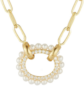Sphera Milano Gold Over Silver Pearl Paperclip Chain Necklace