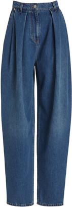 Magda Butrym Pleated Rigid High-Rise Tapered-Leg Jeans