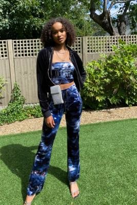 Juicy Couture UO Exclusive Tie-Dye Flare Joggers - Black M at Urban Outfitters
