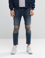 Asos Skinny Cropped Jeans With Extreme Knee Rips In Blue Wash