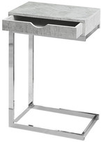 Monarch Specialties Metal Accent Table With Drawer, Top: Faux Cement, Base: Chrome