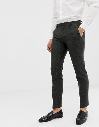 Twisted Tailor super skinny suit pants in charcoal donegal tweed