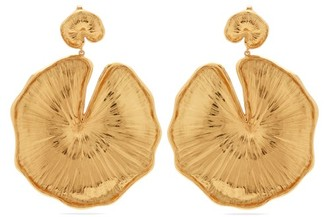 Aurelie Bidermann Lily Pad Gold-plated Clip Earrings - Womens - Gold