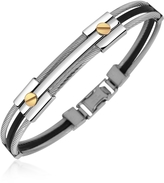 Forzieri Men's Stainless Steel and Rubber Screws Bracelet