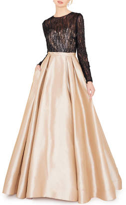 Mac Duggal Jewel-Neck Long-Sleeve Lace Illusion Bodice Ball Gown w/ Pockets