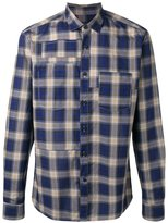 Lanvin topstitched patchwork checked shirt - men - Cotton - 38