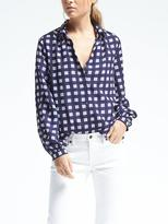 Banana Republic Easy Care Gingham Ruched Blouse