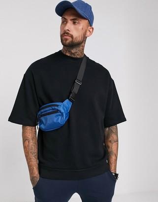 Asos Design DESIGN oversized short sleeve sweatshirt in black